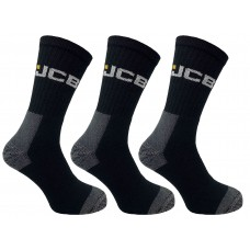 JCB High Protection Work Boot Socks Black– Pack of 3 Size UK 6-11 EUR 39-46