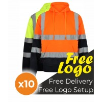 10 Hi Viz Two Tone Hooded Sweatshirt Bundle Deal