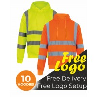 10 Hi Viz Hooded Sweatshirt Bundle Deal