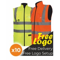10 Hi Viz Padded Reversible Body Warmer Bundle Deal