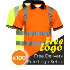100 Hi Viz Short Sleeve Polo Shirt Bundle Deal