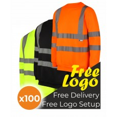 100 Hi Viz Crew Neck Sweatshirt Bundle Deal