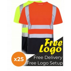 25 Hi Viz Crew Neck Two Tone Short Sleeve T- Shirt Bundle Deal
