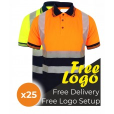 25 Hi Viz Short Sleeve Two Tone Polo Shirt Bundle Deal