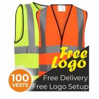Bulk Deal 100 Printed Hi Visibility Vests Bundle