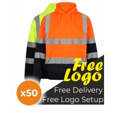 50 Hi Viz Two Tone Hooded Sweatshirt Bundle Deal