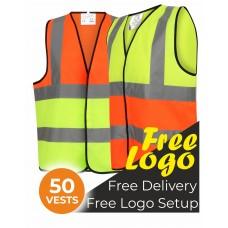 50 Hi Viz Two Tone Safety Vests Bundle Deal