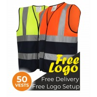 50 Hi Viz Two Tone Vests Bundle Deal