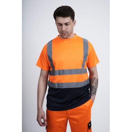 kapton® High Visibility Crew Neck Two Tone Short Sleeve T- Shirt