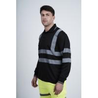 kapton® High Visibility Reflective Black Long Sleeve Polo Shirt