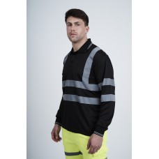kapton® High Visibility Reflective Black Long Sleeve Polo Shirt