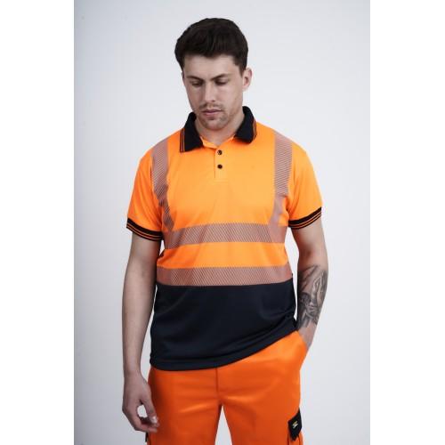 kapton® High Visibility Short Sleeve Polo Shirt - Segmented Stretch Reflect