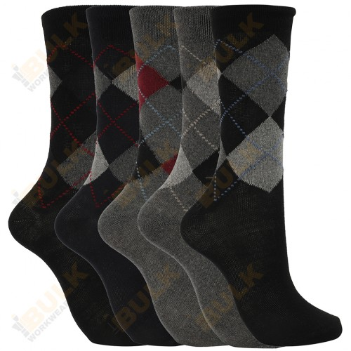 Mens Argyle Work Dress Socks Pack of 6 Size 6-11