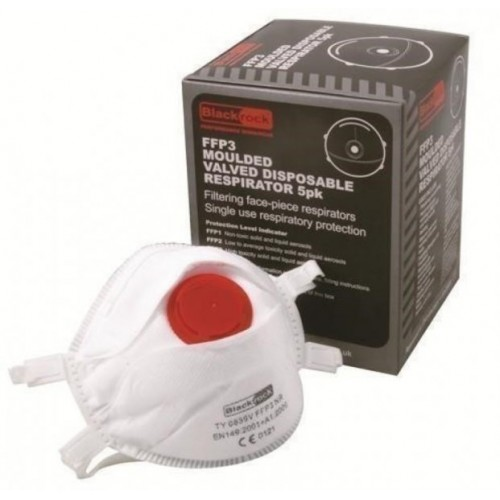 Blackrock® FFP3 Moulded Valved Respirator - Dust Mask Box Of 5
